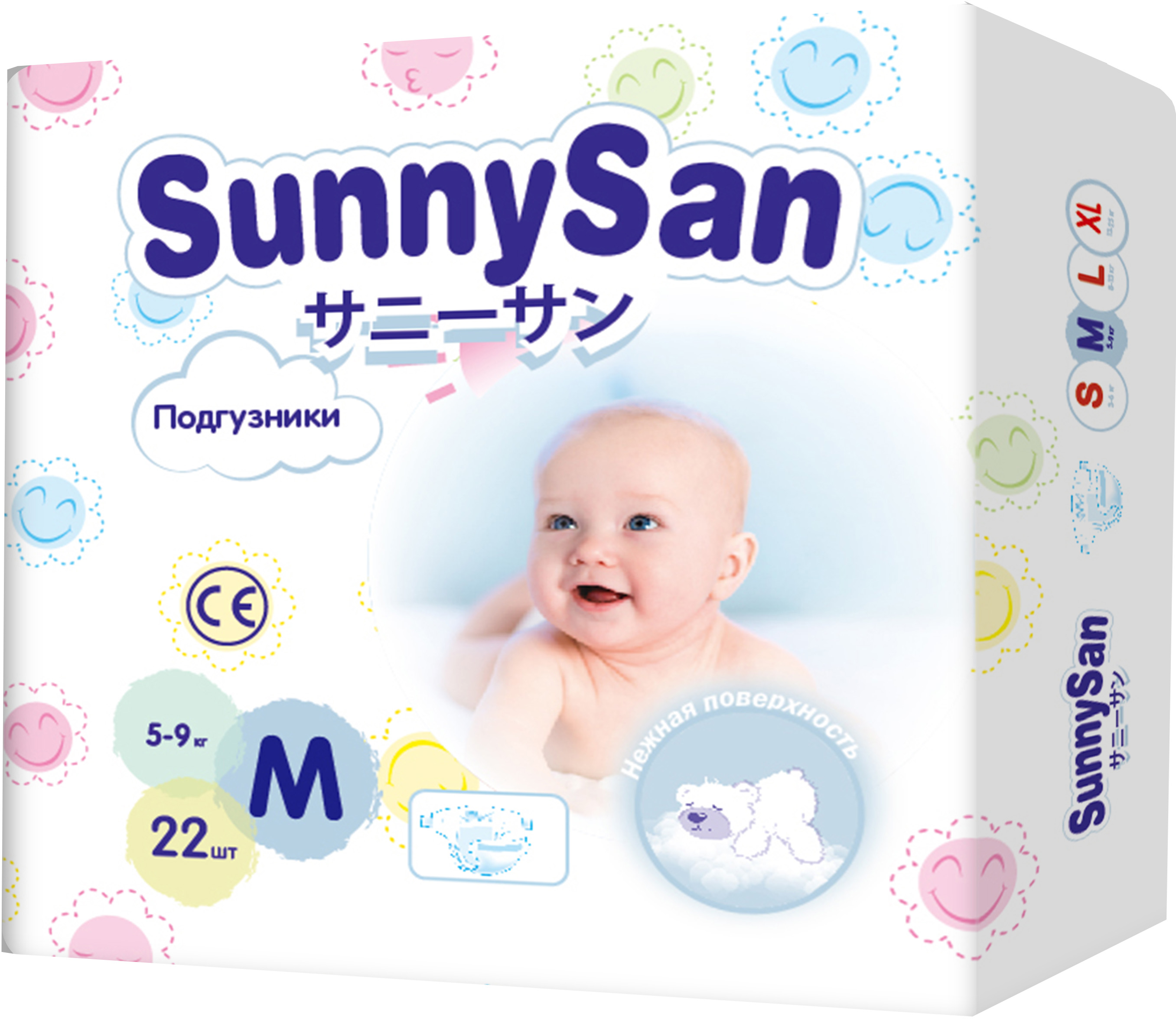 Подгузники SunnySan M (5 - 9 кг) 22 шт.