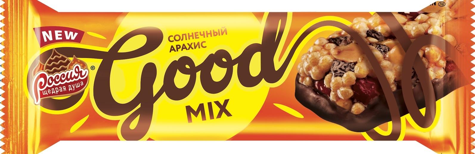 Батончик Россия Щедрая душа «Good Mix» с арахисом 33 г спартак spinner батончик с мягкой карамелью и арахисом 50 г