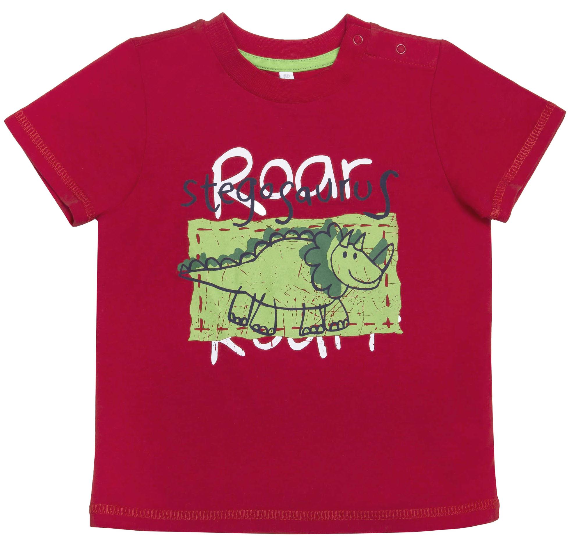 """где купить Футболки Barkito Футболка с коротким рукавом для мальчика Barkito, """"Веселый динозавр 1"""", красная по лучшей цене"""
