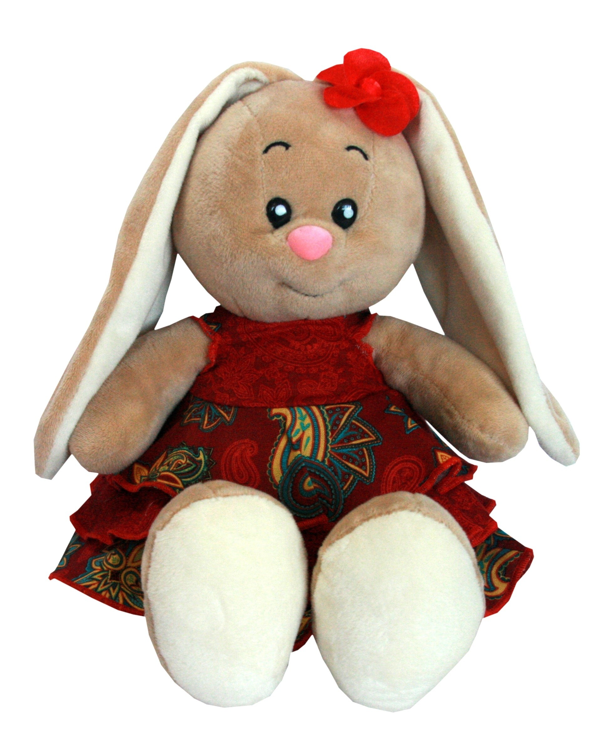 Мягкие игрушки СмолТойс «Зайка-милашка» в платье с воланами бордо 30 см мягкая игрушка смолтойс зайка даша 53 см