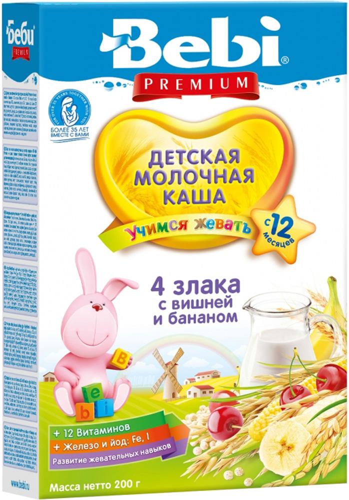 Молочные Bebi Каша молочная Bebi Premium «Учимся жевать» 4 злака с вишней и бананом с 12 мес. 200 г молочно овсяная с бананом с пребиотиками жидкая с 6 мес 200 мл