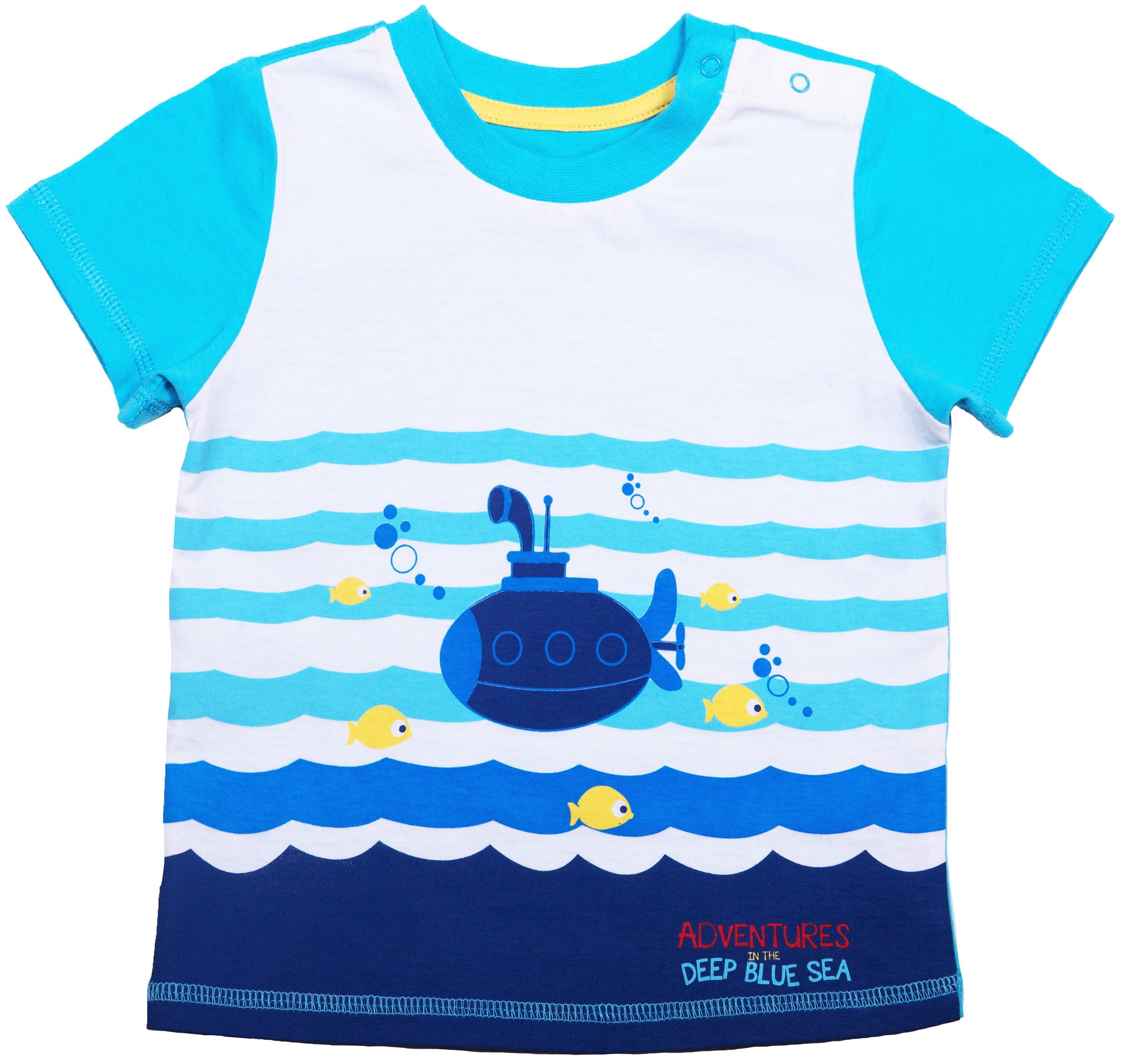 Купить Комплект футболка и шорты, Подводный мир 2, 1шт., Barkito S17B2009J(2), Узбекистан, футболка: белый, шорты: синий