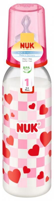 Бутылочка для кормления NUK с силиконовой соской для молока с рождения 240 мл бутылочки nuk nature sense 1s с силиконовой соской с рождения 150 мл