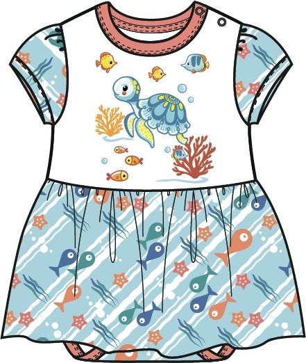 Купить Первые вещи новорожденного, Комбинезон для девочки Barkito Подводные жители , белый с голубой отделкой, Беларусь