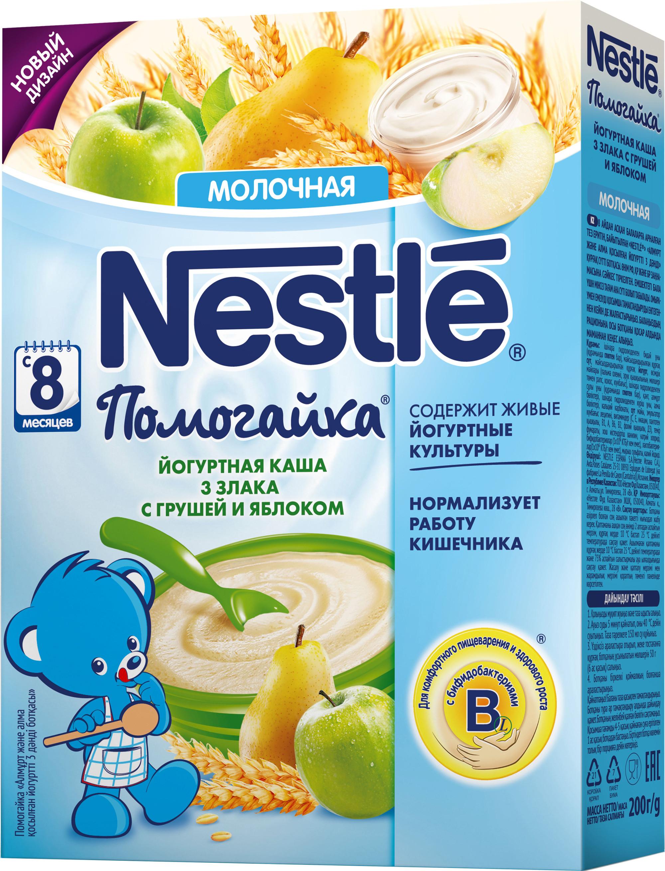 Каша Nestle Nestlé Помогайка молочная 3 злака с йогуртом, грушей и яблоком (с 8 месяцев) 200 г каша молочная nestle йогуртная 3 злака с бананом и клубникой с 8 мес 200 гр