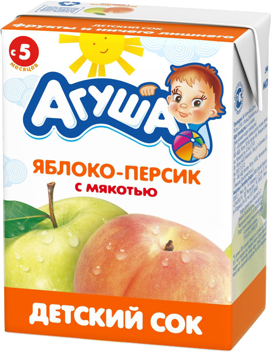 Сок Вимм-Билль-Данн Агуша Яблоко и персик с мякотью с 5 мес. 200 мл молочная продукция агуша молоко стерилизованное с пребиотиком 2 5% 200 мл
