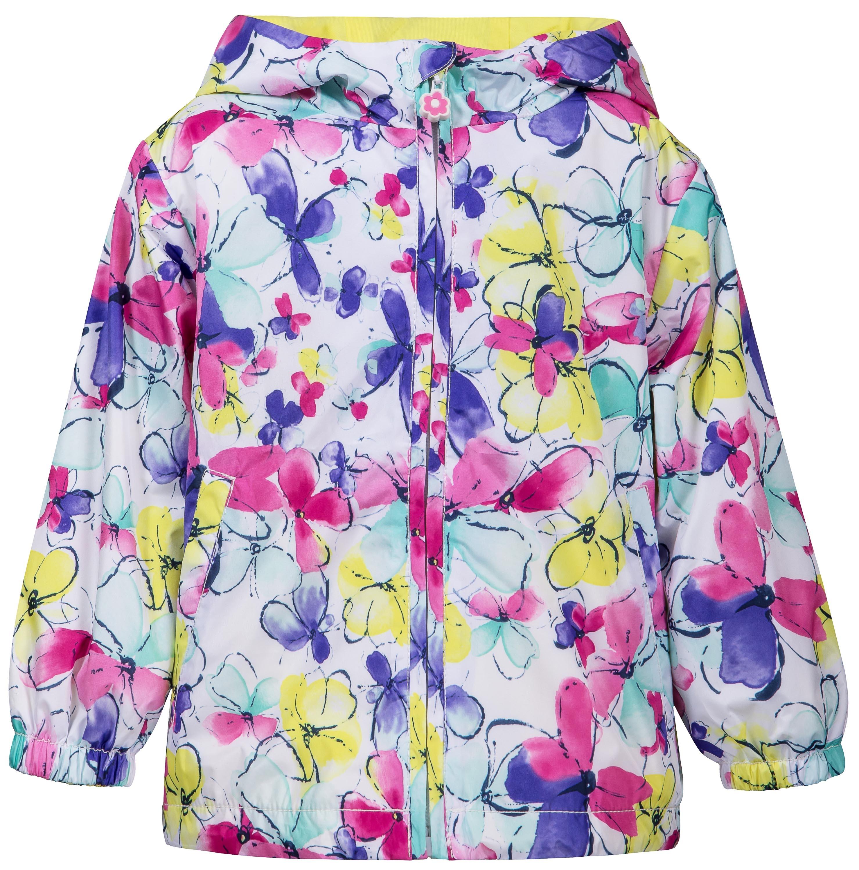 Куртка для девочки Barkito Белая с рисунком бабочки легинсы barkito база голубой с рисунком бабочки