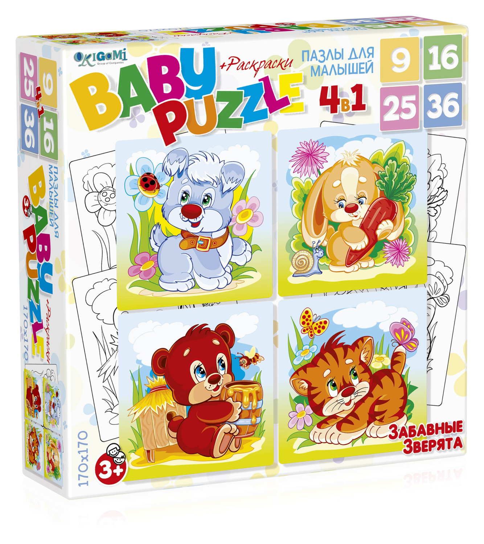 Пазлы Origami Пазл Origami «Для малышей: Забавные зверята» 4 в 1 в асс. феникс раскраска зверята для малышей