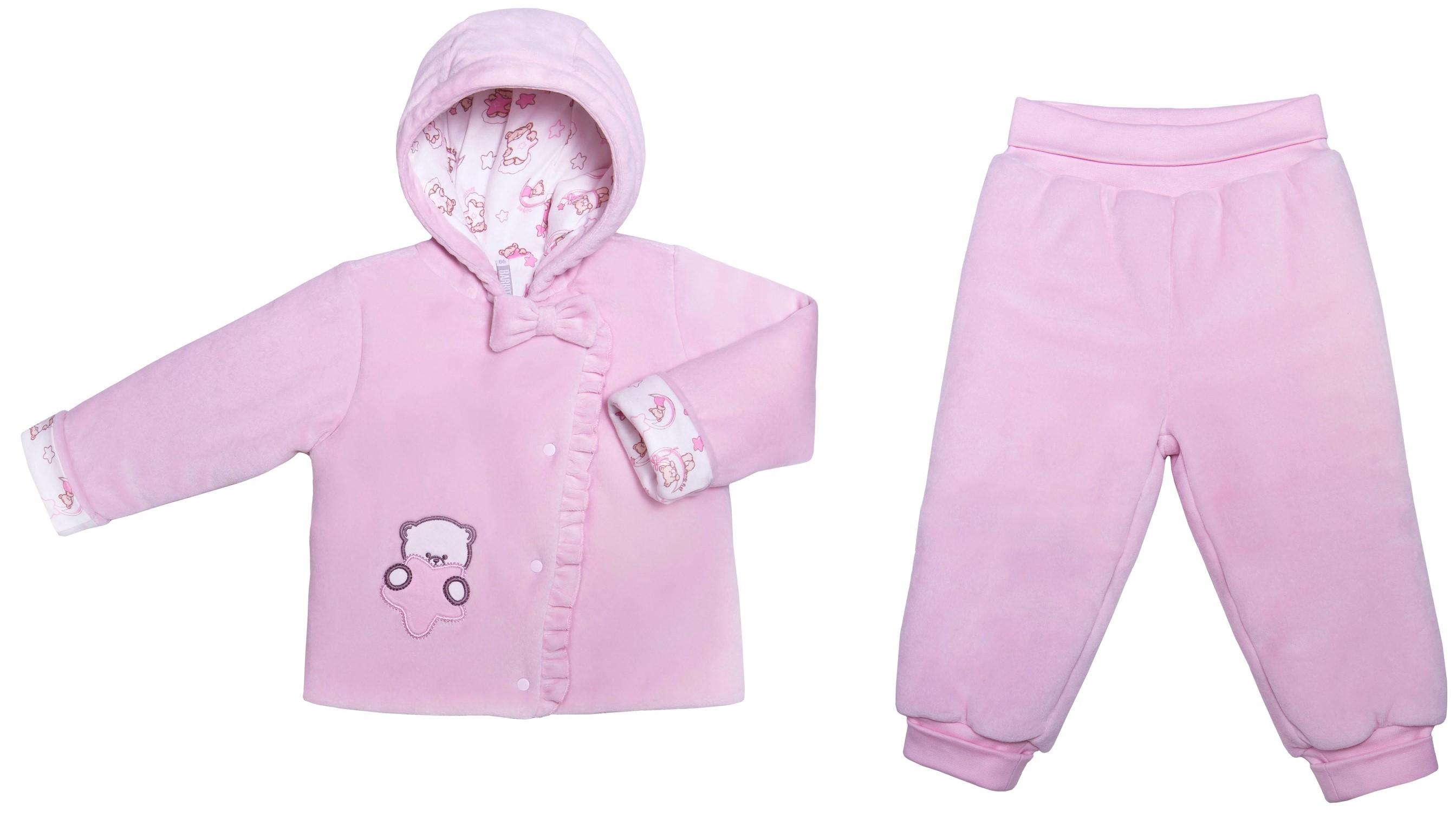 Комплекты утепленные Barkito Комплект жакет, штанишки для девочки Сладкие сны Barkito розовый комплекты детской одежды мамуляндия комплект для девочки платье и жакет клякса