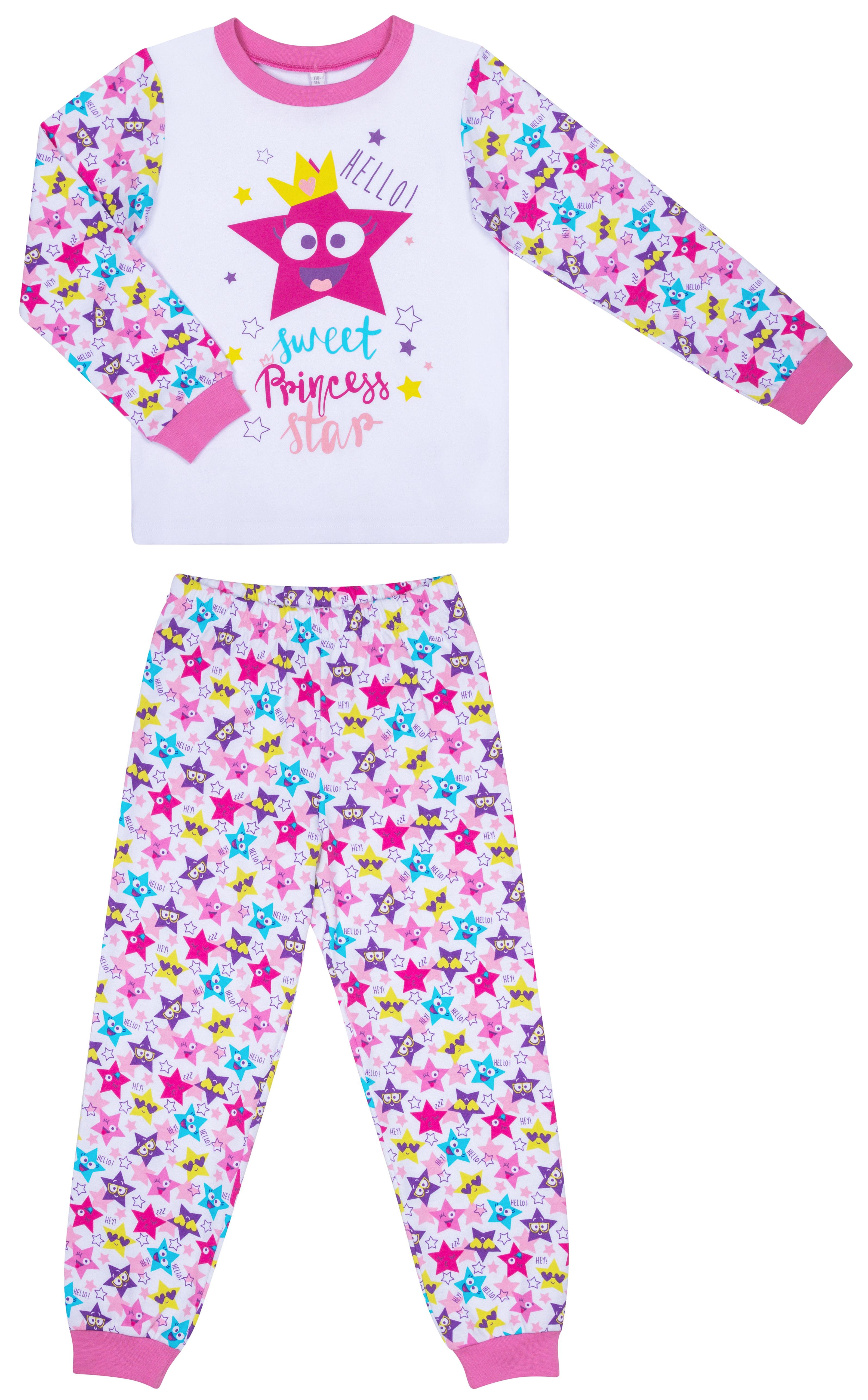 Купить Пижамы, Пижама для девочки (фуфайка и брюки) Barkito «Сновидения», белая со звездами, Россия, белый со звездами, Женский