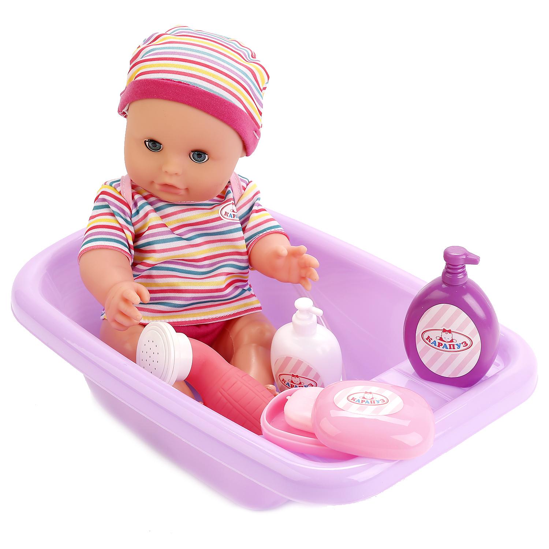 Пупсы Карапуз Hello Kitty с ванночкой и душем hello kitty во что бы поиграть наклей и раскрась