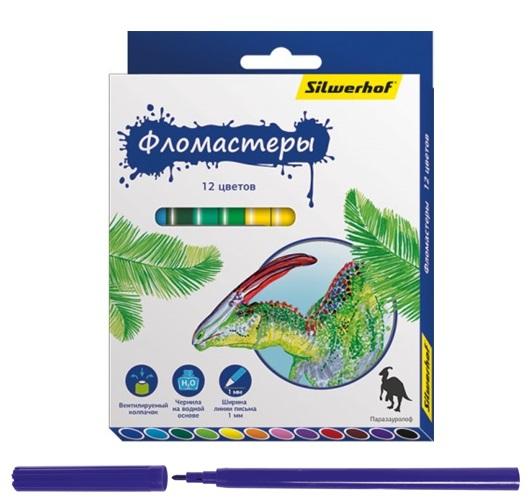 Фломастеры Silwerhof «Динозавры» 12 цветов фломастеры bic kids visa 12 цветов