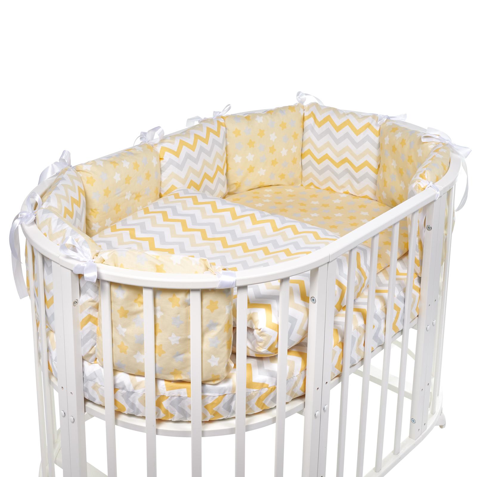 Постельные принадлежности Sweet Baby Комплект в овальную кроватку Sweet Baby Lunedi Giallo 5 пр. балдахины для кроваток bebe luvicci baby birdie
