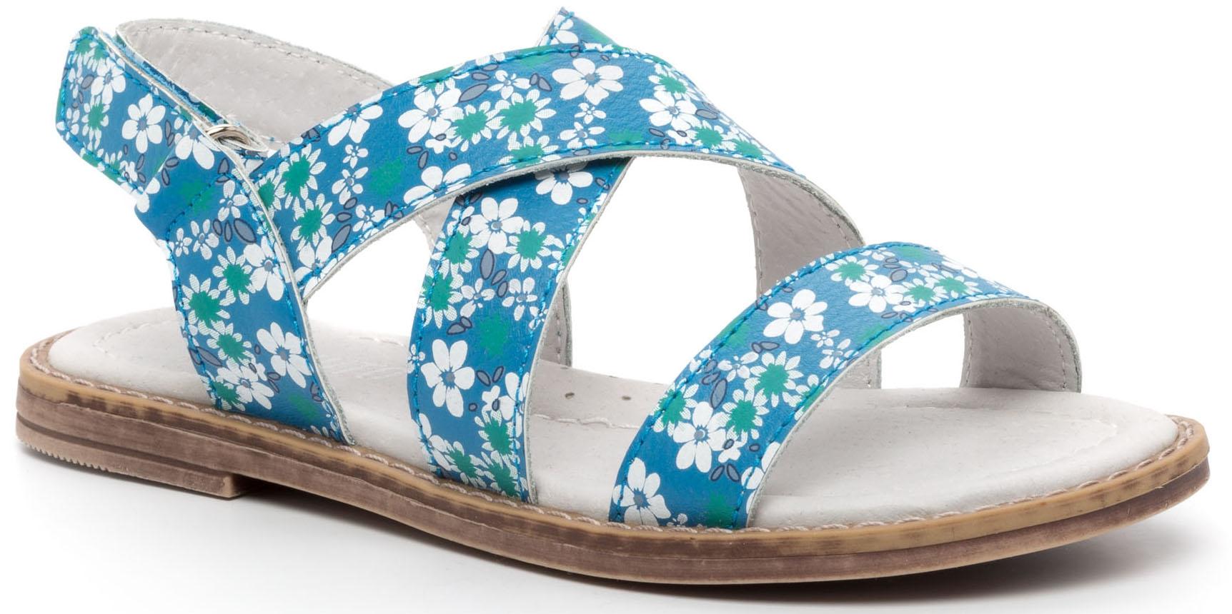 Купить Босоножки, Туфли летние ремешковые для девочки Barkito, бирюзовый с рисунком, Китай, Женский