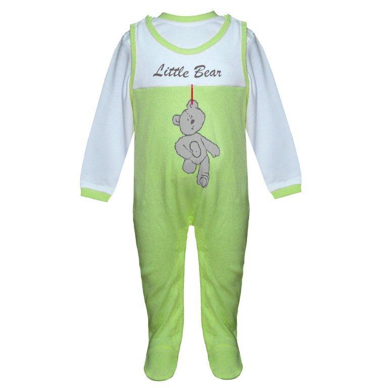 Первые вещи новорожденного Barkito Полукомбинезон, футболка дл. рукав Домашний очаг зеленый футболка длинный рукав
