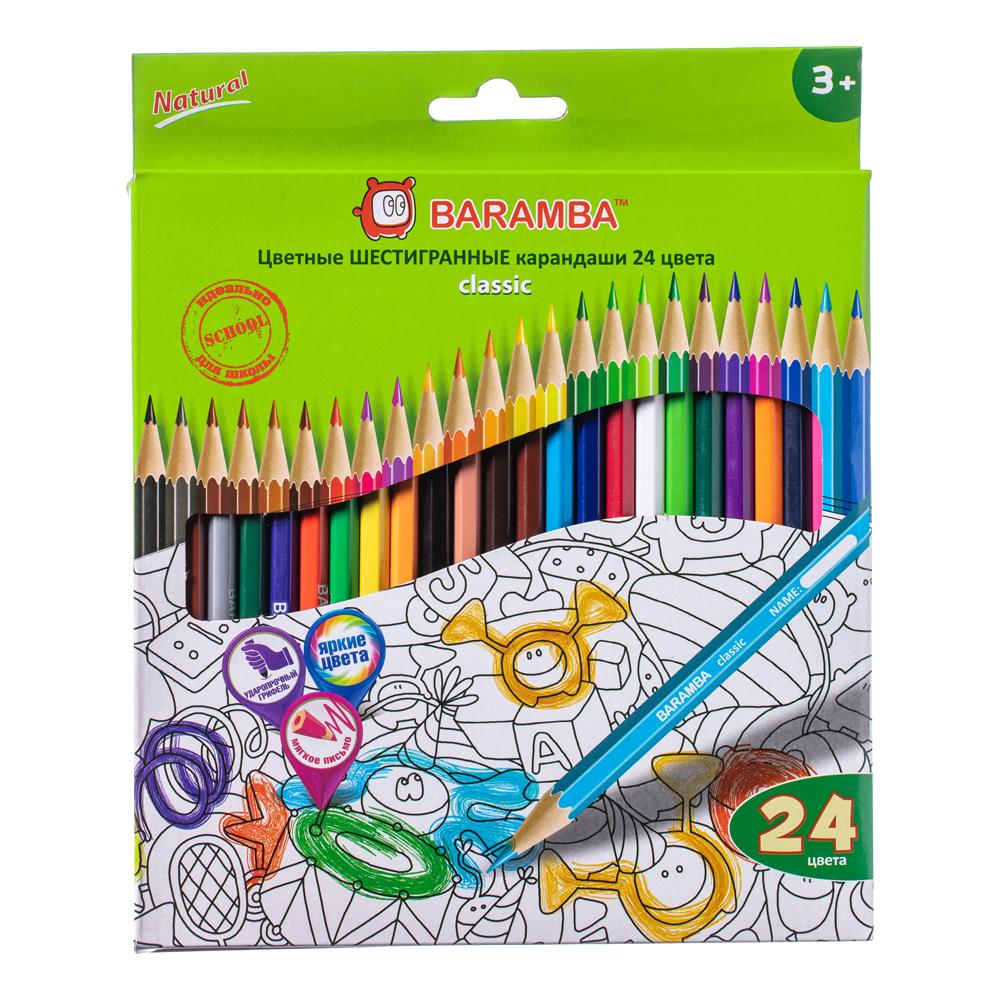 Карандаши Baramba Цветные шестигранные 24 цветов цены онлайн
