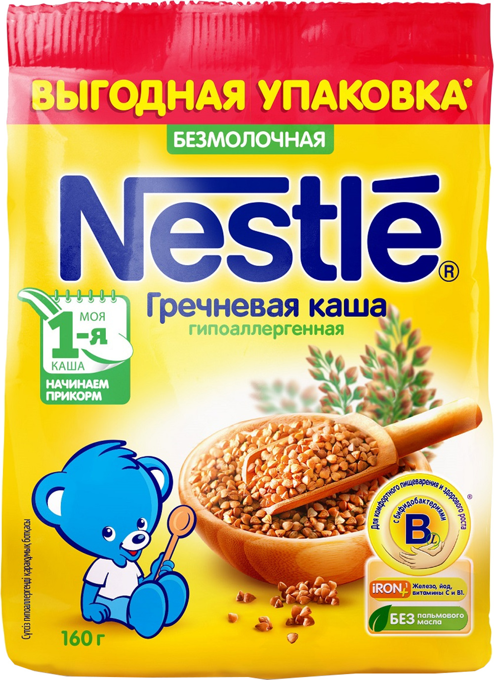 Купить Детские каши, Nestlé Безмолочная гречневая гипоаллергенная (с 4 месяцев) 160 г, 1шт., Nestle 12308280, Россия