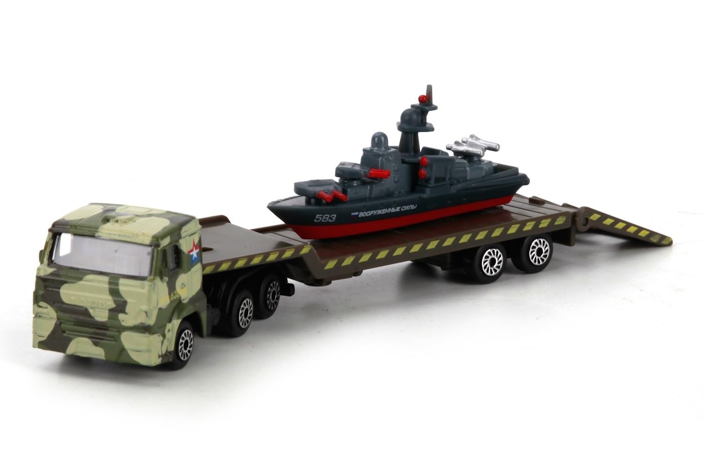 Машина Технопарк Камаз-транспортер с кораблем гаражи и игровые наборы технопарк игровой набор технопарк парковка спецслужб со спуском