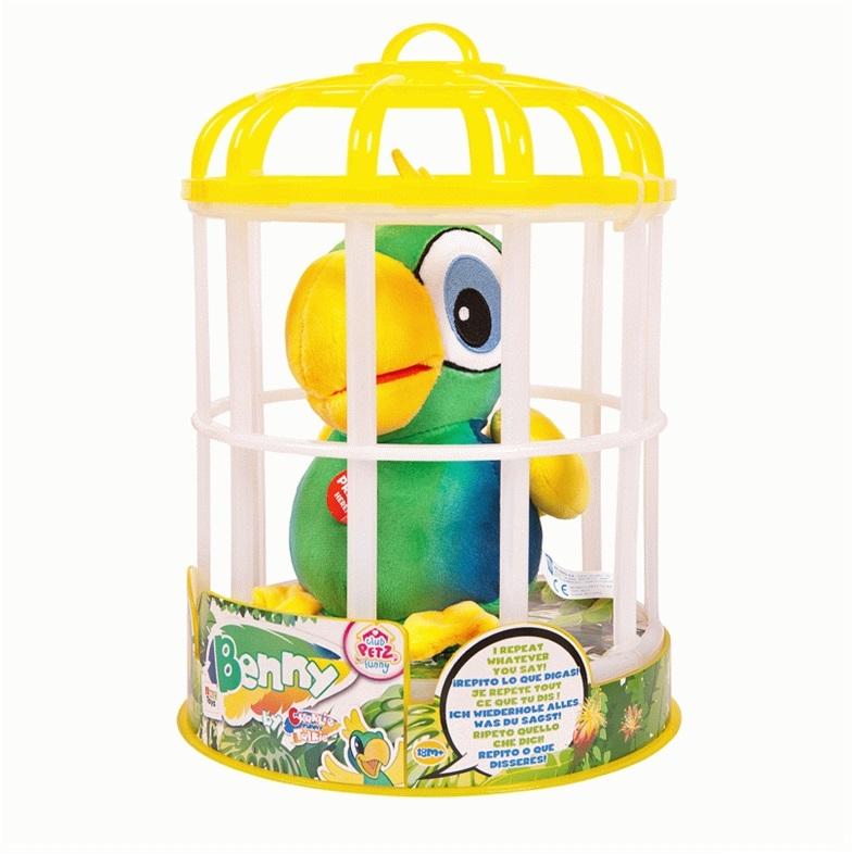 Купить Мягкие игрушки, Попугай Benny, IMC, Китай, зеленый с желтым