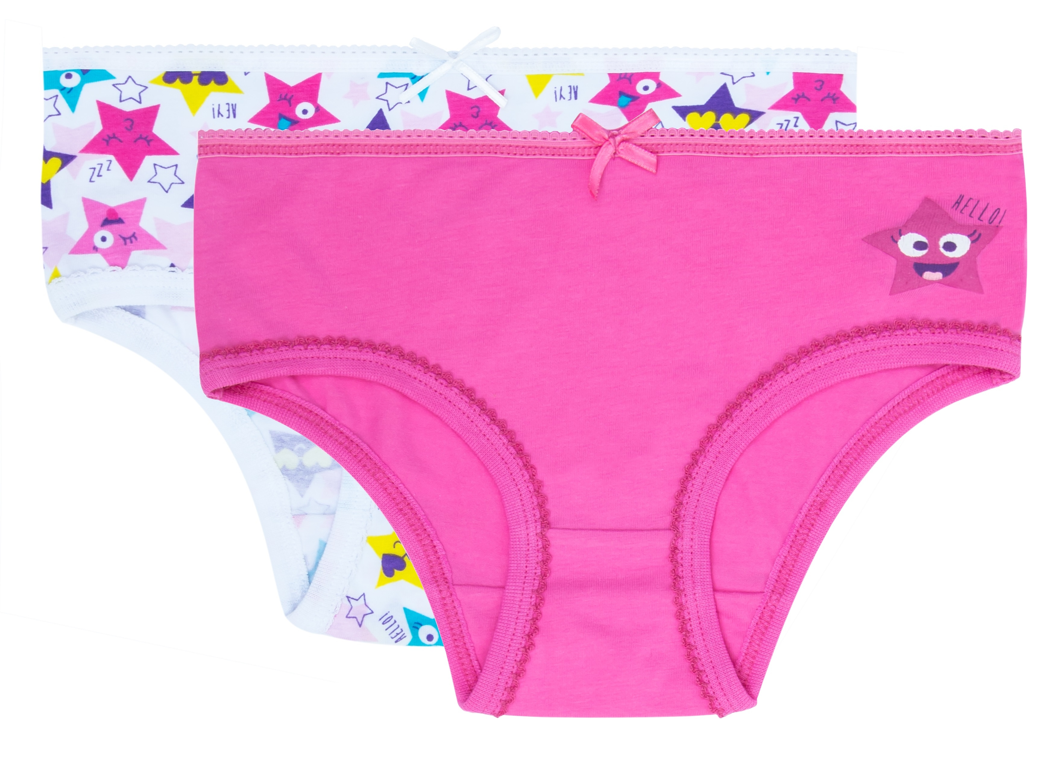 Трусы для девочки Barkito Белые с рисунком звезды/розовые трусы для девочки barkito бельё ss18 белые с рисунком розовые