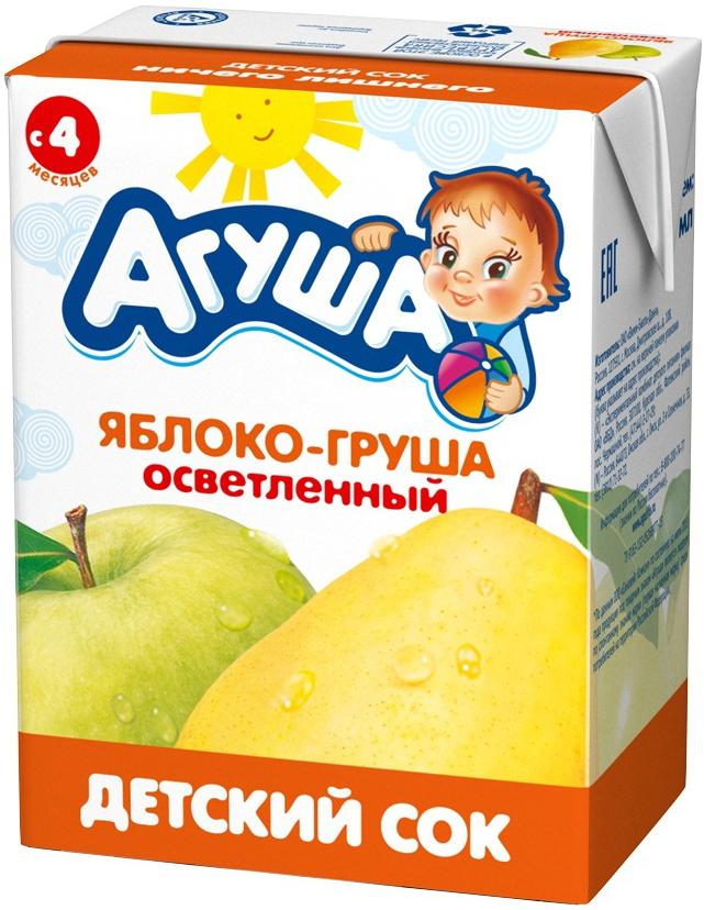 Соки и нектары Агуша Агуша Яблоко и груша с 4 мес. 200 мл пюре агуша яблоко груша с 5 мес 200 гр
