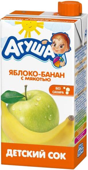 Напитки Агуша Сок Агуша Яблоко и банан с мякотью с 3 лет 500 мл соки и напитки агуша компот курага изюм яблоко 500 мл