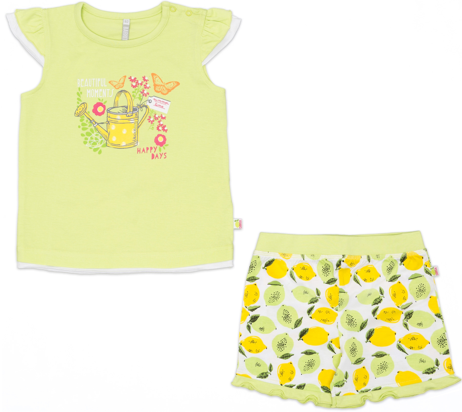 Комплекты Barkito Комплект трикотажный для девочки: футболка с коротким рукавом+шорты Barkito, Лимончики, салатовый комплект футболки шорты свiтанак комплект футболки шорты