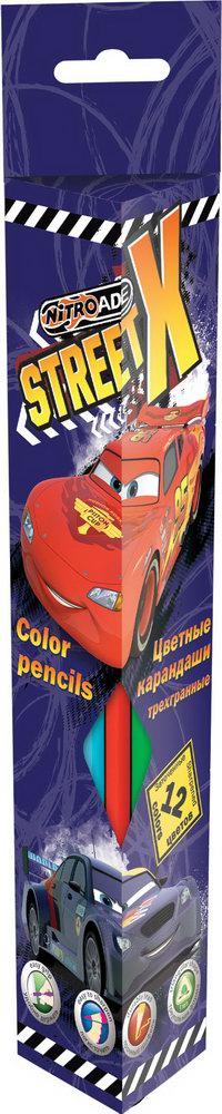 Ручки и карандаши Cars Трехгранные 12 шт ручки и карандаши cars набор цветных карандашей disney cars 12 шт