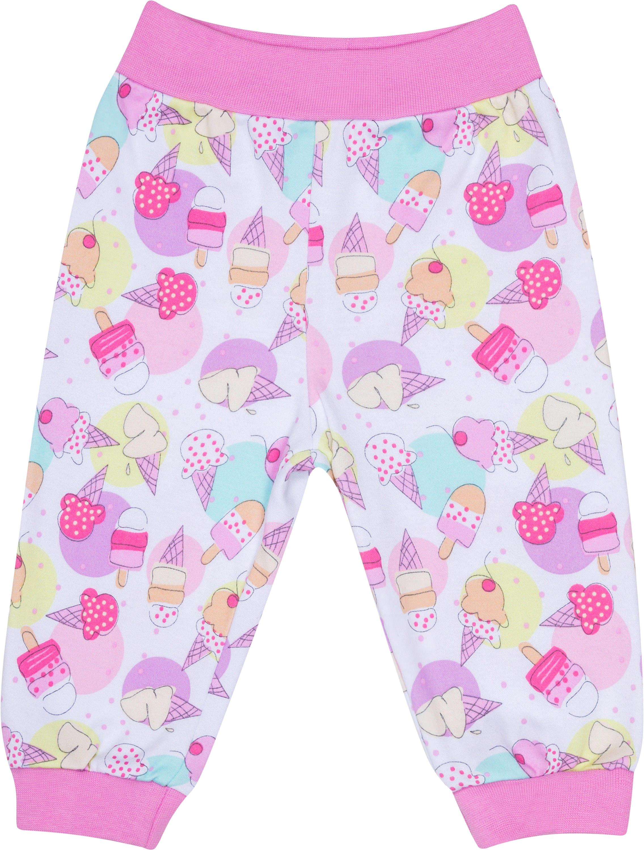 Ползунки модель штанишки детские Barkito Маленькие сладости, белые с рисунком мороженое