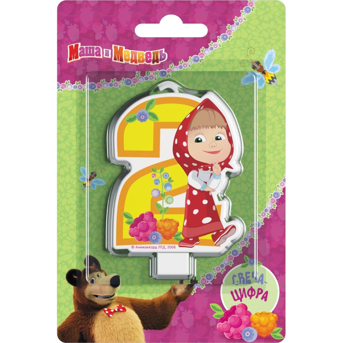 Декор Маша и Медведь Свеча Маша и Медведь «Цифра 2» кукла маша в красном сарафане маша и медведь