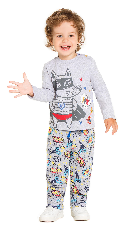 """Купить со скидкой Брюки трикотажные для мальчика Barkito """"Супер baby"""", серые с рисунком"""
