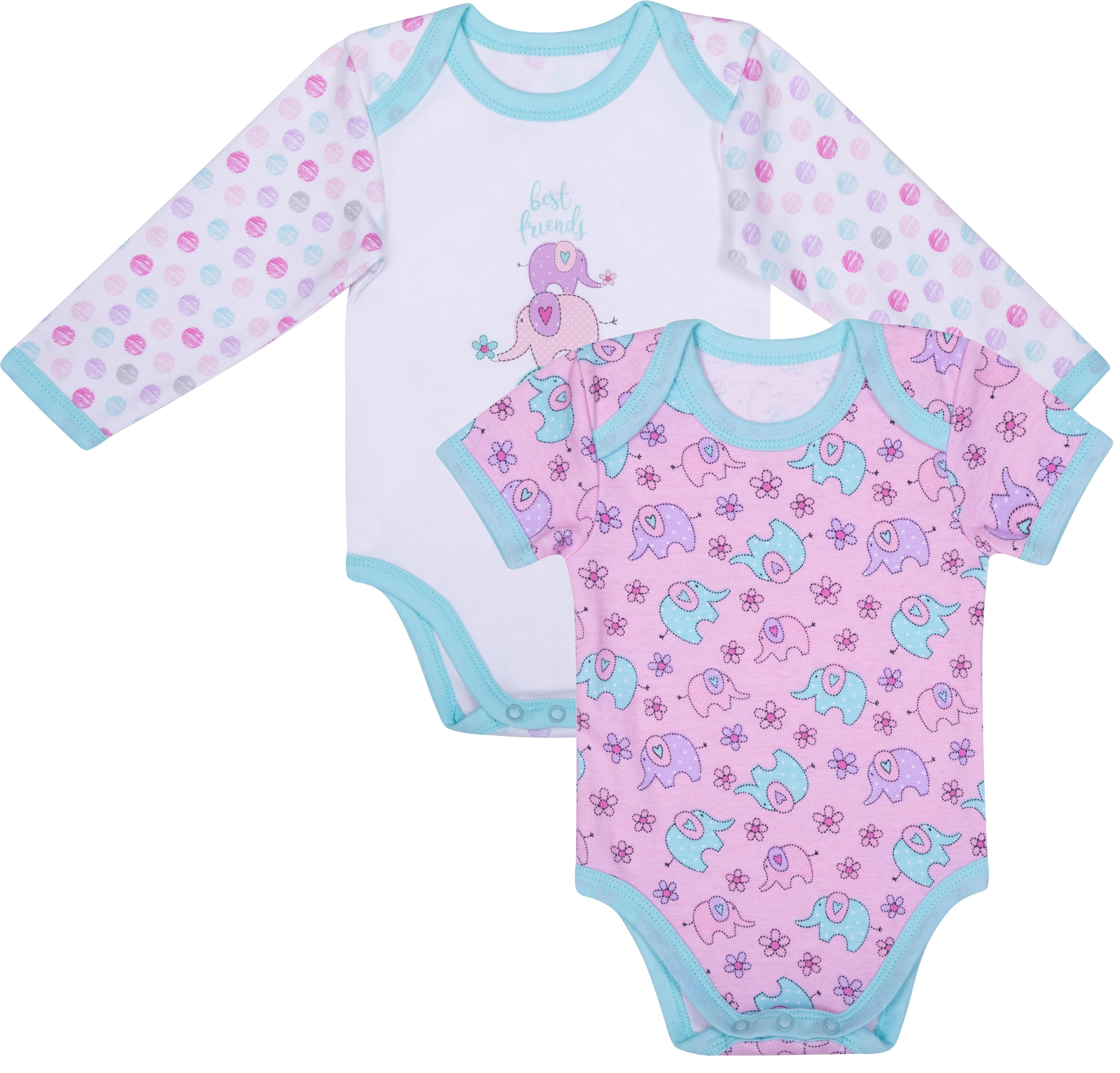 Боди с длинным рукавом детское Barkito Мятные слоники 2 шт., белое/розовое