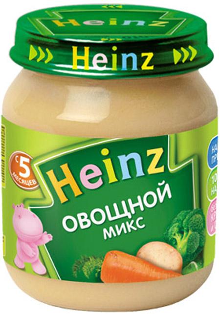 Пюре Heinz Пюре Heinz Овощной микс 5 мес. 120 г пюре heinz фруктовое 120 гр грушка и черничка с печеньем с 6 мес