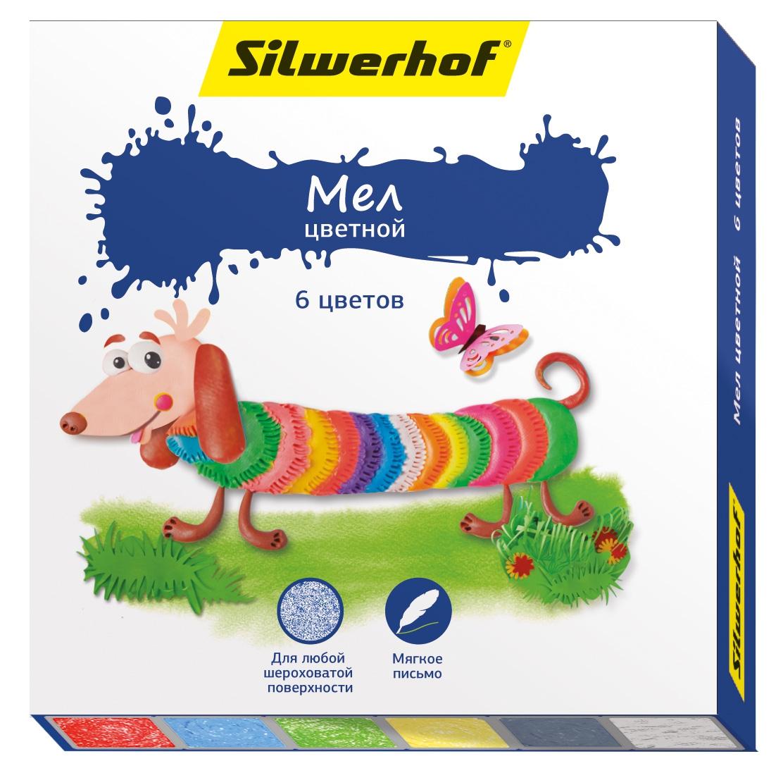 Мел Silwerhof цветной Пластилиновая коллекция 6 цв. барамба пластилин цветной 11цв 25гр раскраска картонная коробка