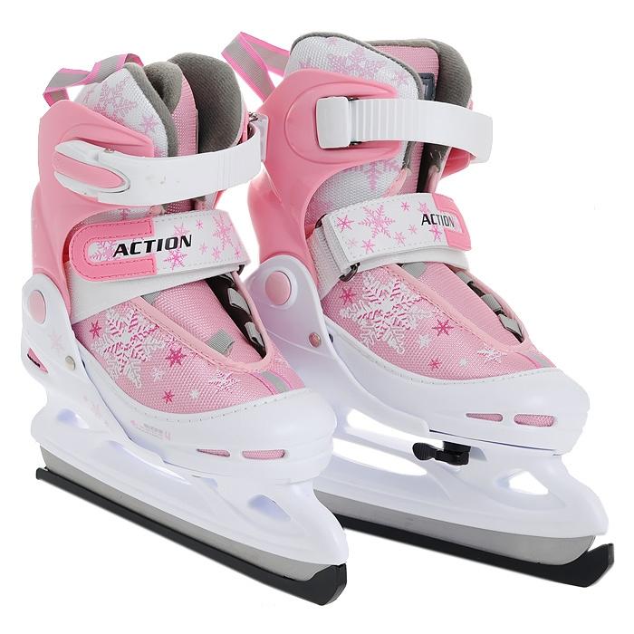 Коньки раздвижные ASE-SPORT ASE-211E Wh-Pink р. M (34-37) коньки хоккейные раздвижные ase sport ase 211f цвет белый розовый размер 34 37
