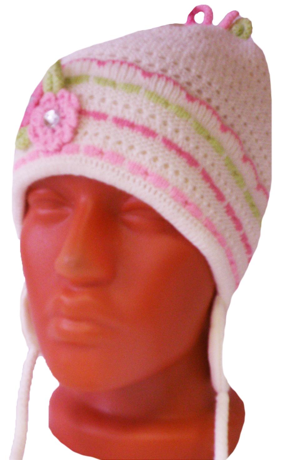 Головные уборы Индиго Шапка вязаная, с ушками, на завязочках Индиго Молочная головные уборы индиго шапка индиго серая