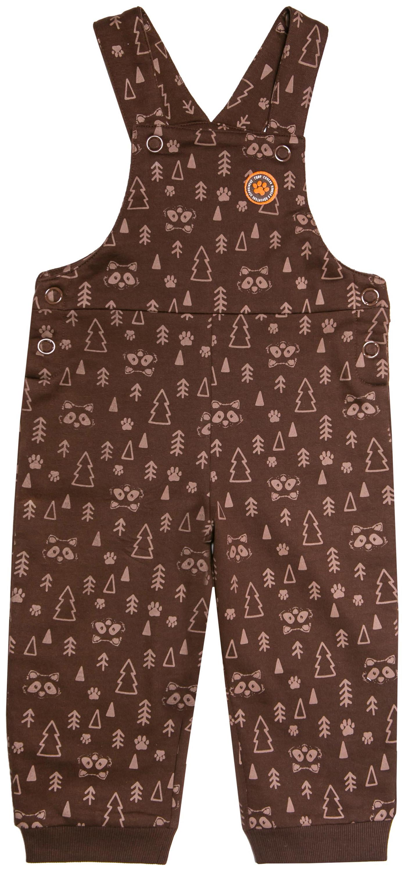 Купить Комплект для мальчика, футболка с длинным рукавом и полукомбинезон Отважные при ключения 1, 1шт., Barkito W17B2017J(2), Узбекистан, футболка - бежевая, полукомбинезон - коричневый с рисунком, Мужской