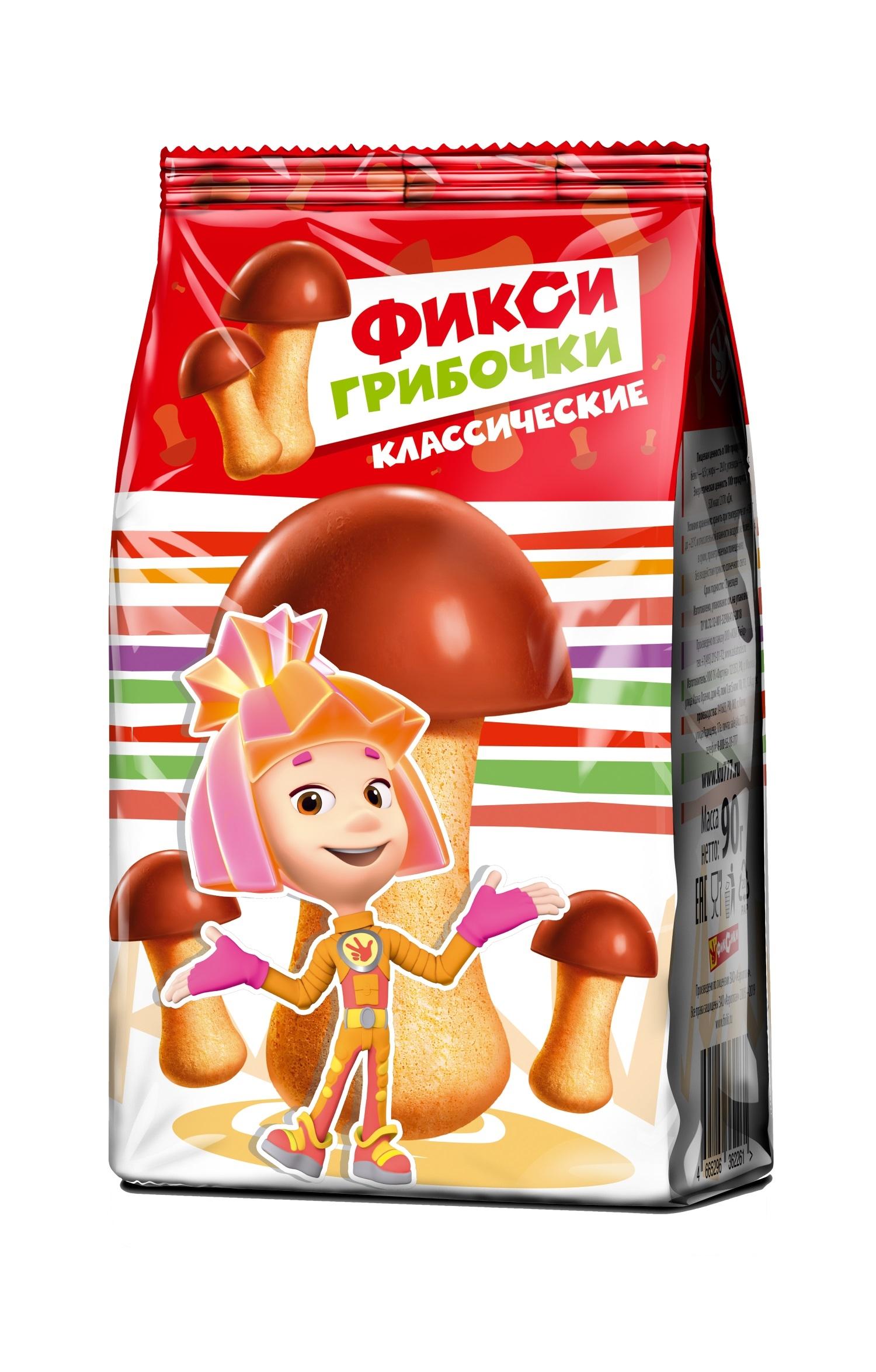 Печенье ФИКСИКИ Фикси-грибочки классические 90 г