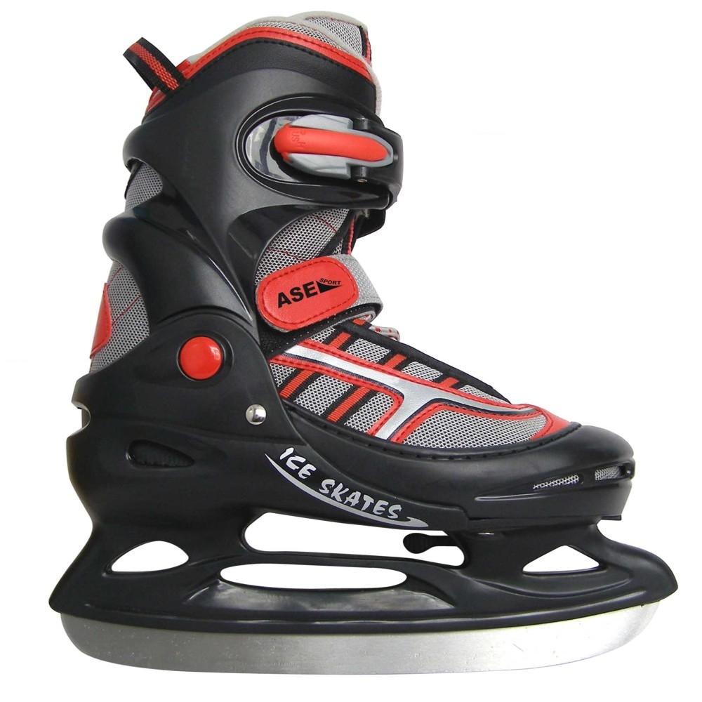 Коньки раздвижные ASE-SPORT ASE-211E Bl-Red р. S (30-33) коньки хоккейные раздвижные ase sport ase 211f цвет белый розовый размер 34 37