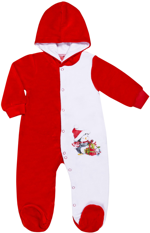 """Купить со скидкой Комбинезон велюровый детский Barkito """"Новый год"""", красный с белой отделкой"""
