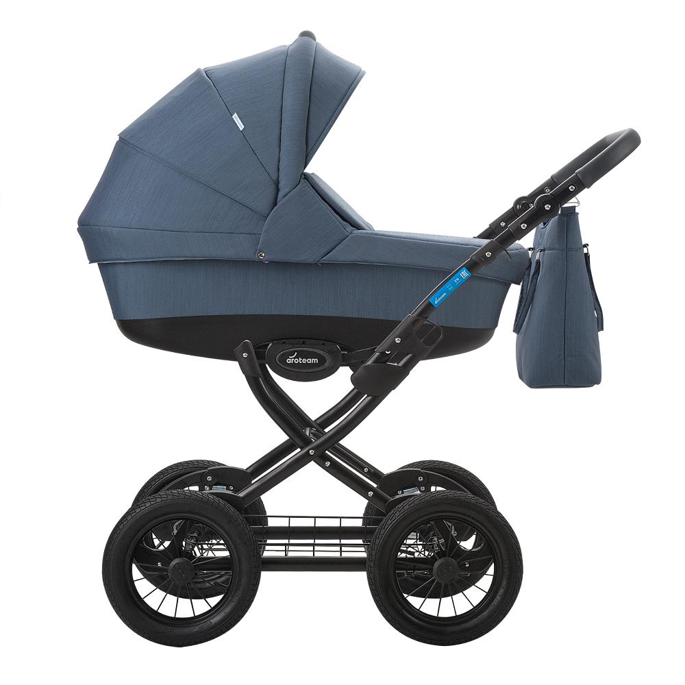 цена на Классическая коляска 2 в 1 Aroteam Cocoline 18 синий с серым