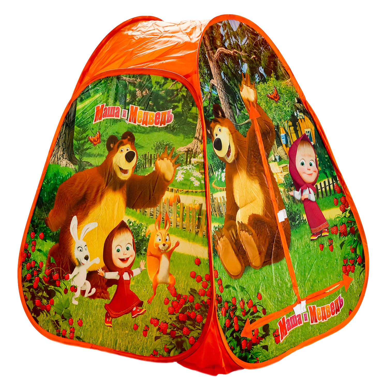 Палатка игровая Играем вместе Маша и медведь треугольная 218936 ролевые игры bondibon набор машин театр зимушка зима маша и медведь
