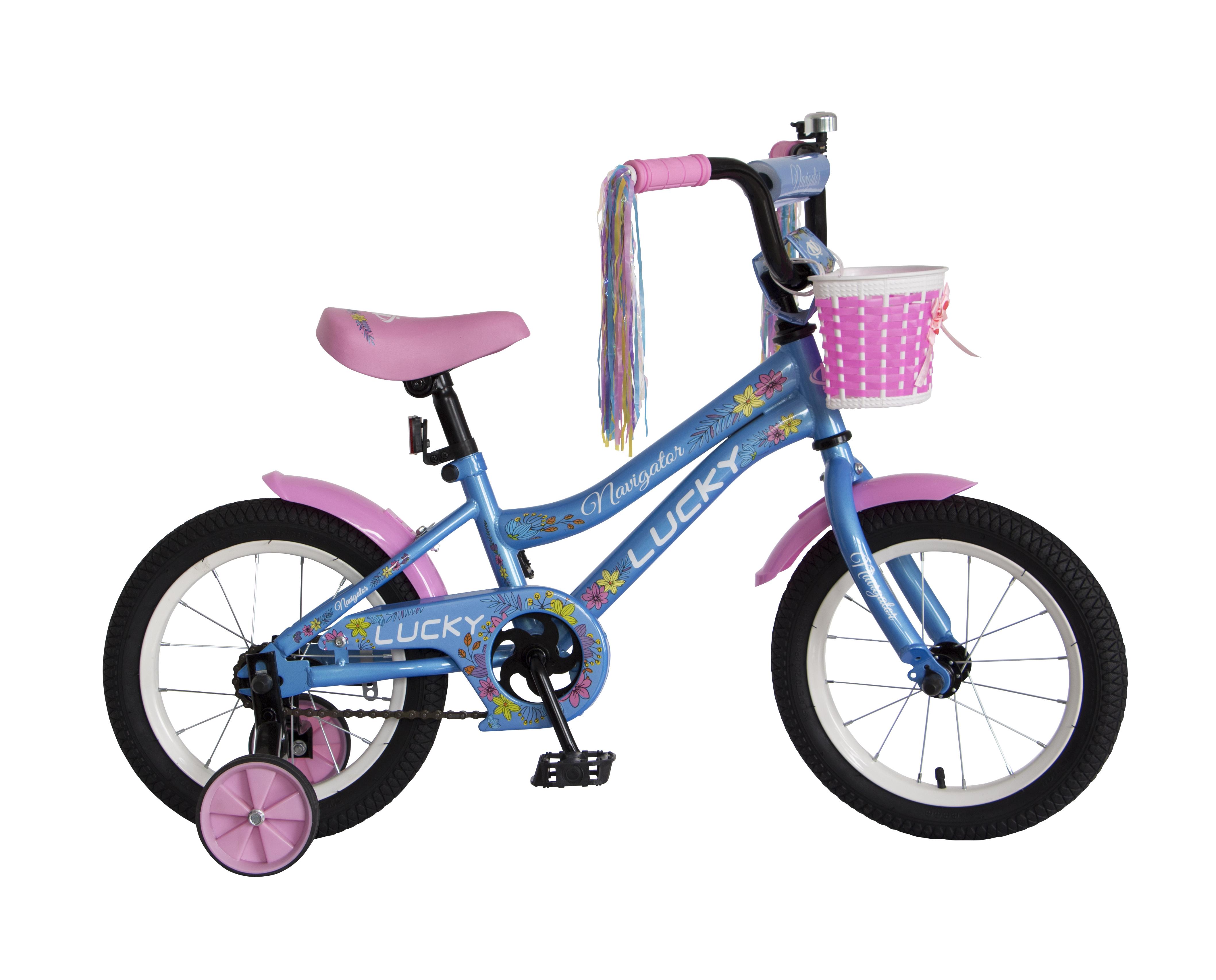 Велосипед двухколесный Navigator Lucky 14 голубой с рисунком
