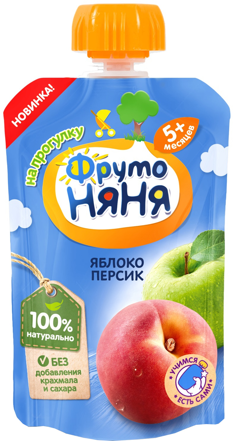 Пюре Фрутоняня из яблок и персиков с 5 мес. 90 г фрутоняня пюре из яблок и персиков с 5 месяцев 250 г