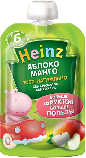 Пюре Heinz Heinz Яблоко, манго (с 6 месяцев) 90 г активия биойогурт питьевой манго яблоко 2 0