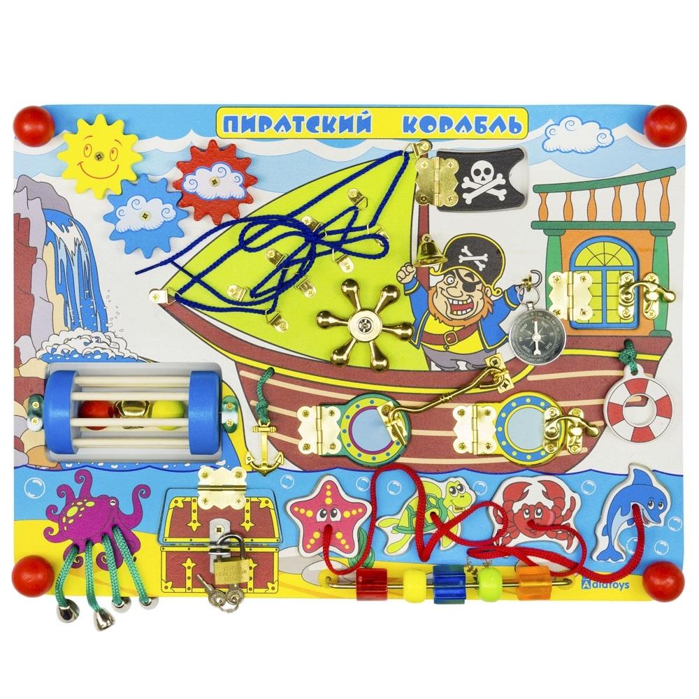 Купить Деревянные игрушки, Бизиборд. Пиратский корабль, Alatoys, Россия, Бизиборд «Пиратский корабль» 400*300*70мм, древесина
