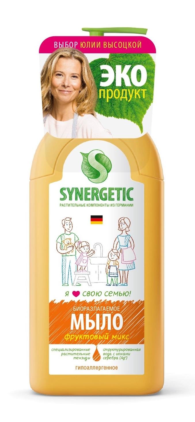 Жидкое мыло Synergetic Фруктовый микс 0,5 л бытовая химия synergetic мыло жидкое 5 л