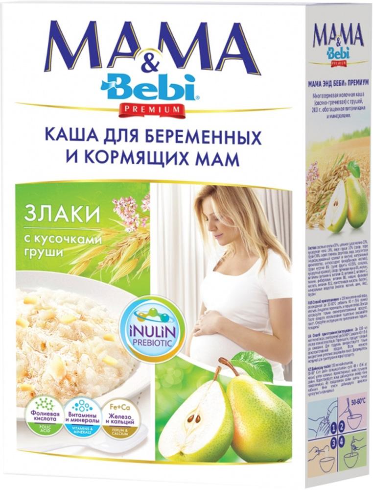 Каша для беременных и кормящих мам Bebi Mama & Bebi Premium молочная Злаки с кусочками груши 200 г