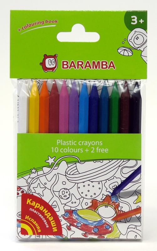 Набор пластиковых карандашей Baramba в блистере 12шт + вкладыш-раскраска ручки и карандаши baramba треугольные в картонной коробке 13шт вкладыш раскраска