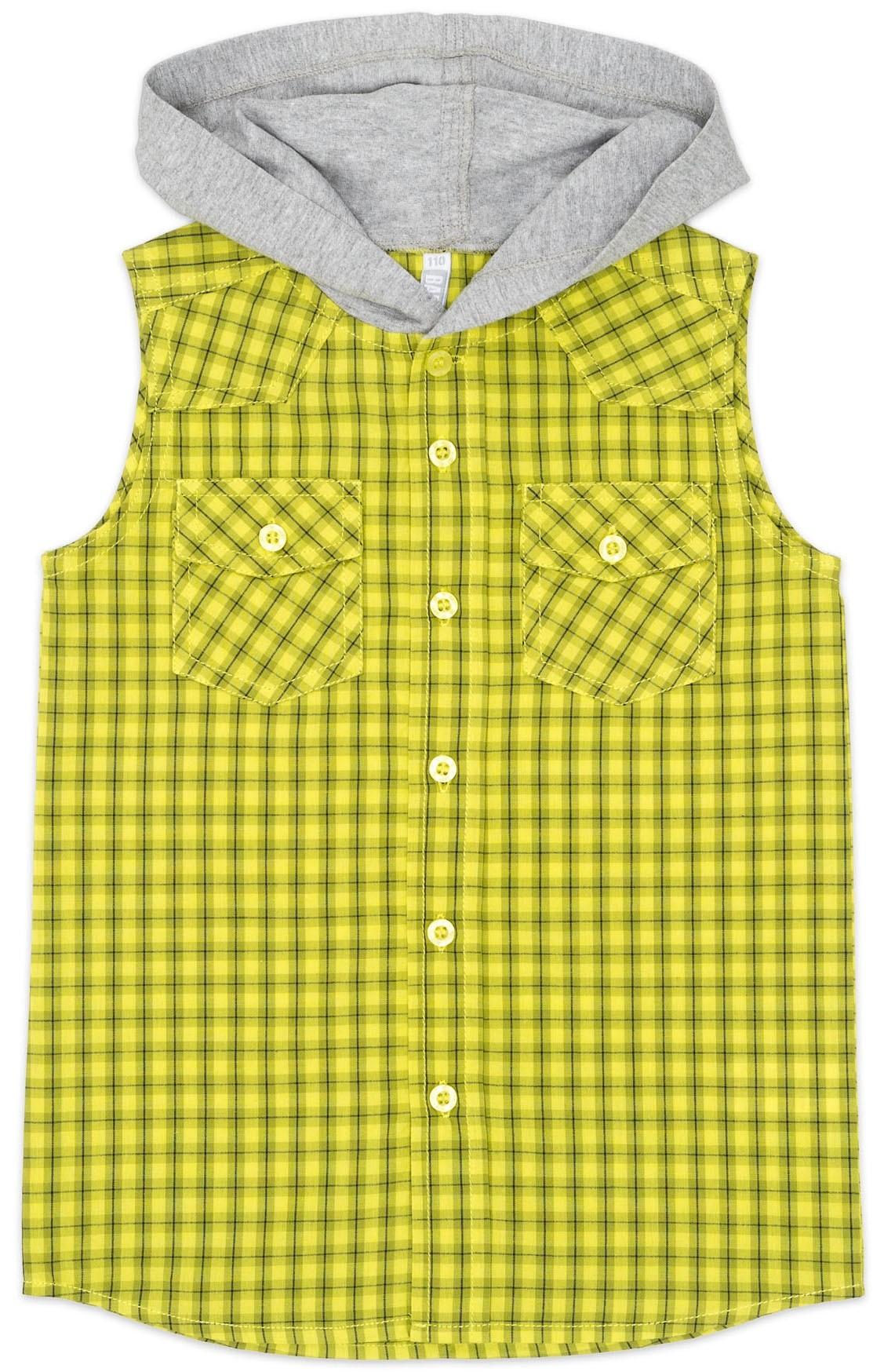 Рубашки Barkito Сорочка без рукавов с капюшоном для мальчика Barkito, Лови волну, салатовая брюки barkito салатовая